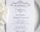 PRINTED Wedding Shower Invitations  - Formal Elegant Classic