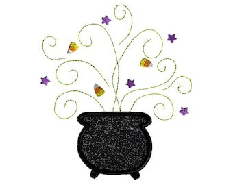 Witch's Brew Applique Machine Embroidery Design-INSTANT DOWNLOAD