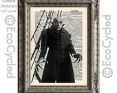 Nosferatu 2 on Vintage Upcycled Dictionary Art Print Book Art Print Recycled Repurposed Vampire Movie Monster