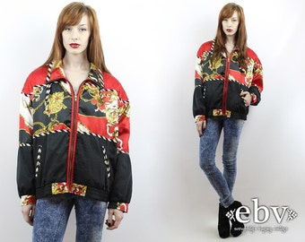 Vintage 90s Baroque Windbreaker Jacket Pullover S M L Chain Print Windbreaker 90s Track Jacket 90s Anorak Hipster Jacket 90s Jacket