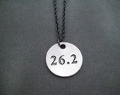 DISTANCE Round Pendant Necklace - Pewter Charm on Gunmetal chain - 5k, 10k, 13.1, 26.2 or XC - Unisex Runner Necklace - Guy Running Necklace