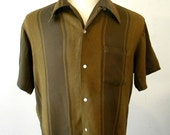 Groovy Mens Vintage 70s Striped Shirt / Mens Hipster Clothing / Brown Rayon Short Sleeve LARGE