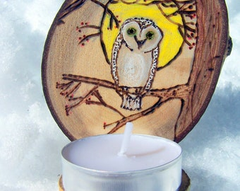 Aspen Wood slice OWL candle holder