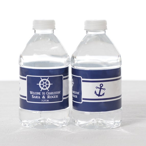 30 Wedding Water Bottle Labels - Nautical Wedding Water Labels