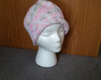 Crochet Cap - pink, white, light yellow, very light brown