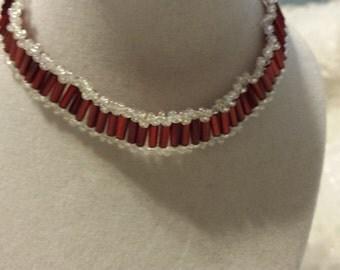 Red  / white beaded bracelet