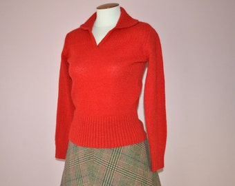 70's Red Sweater with Wide Ribbed Waist Band and Cuffs Modern Size Small Medium  - VTB38
