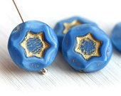 Blue Star beads, czech glass beads with golden stars, blue and gold pressed beads, coin shape, round flat bead - 17mm - 4Pc - 0375