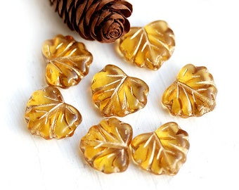 Czech glass leaf beads - Amber Yellow, golden inlays, woodland - Maple leaves - 11x13mm - 10Pc - 0449