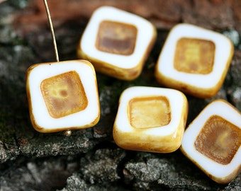 Czech Picasso beads, Square beads - Ivory Brown - glass beads, table cut, squares - 14mm - 4Pc - 0142