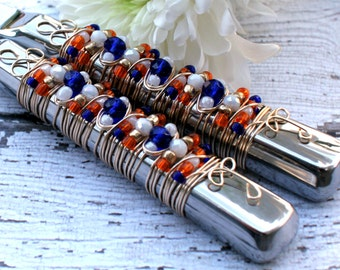 COUTURE Blue, White & Orange Beaded Wire Wrapped Salad Serving Set, bridal, shower, gift, birthday, hostess, dinner party, holiday, fork