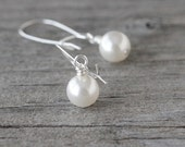 SALE Classic Pearl Earrings: White Swarovski Elements Drops with Sterling Silver, Simple Jewelry