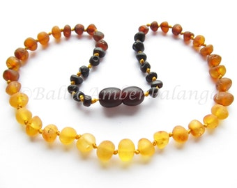 Baltic Amber Teething Necklace, Raw Unpolished Rounded Rainbow Color Beads