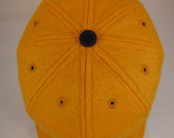 Old Gold wool 8 panel baseball cap, shallow vintage cut, supple leather sweatband, fitted or adjustable, 1940s visor