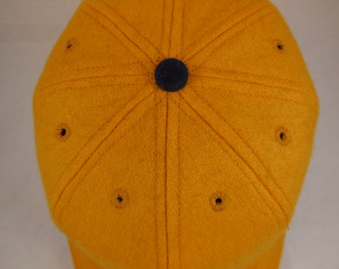 Gold wool 8 panel baseball cap, shallow vintage cut, supple leather sweatband, fitted or adjustable, 1940s visor