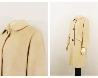 Vintage Coat 50s 60s Mad Men Era 3 Big Button Mod Coat Satin Lined Union Made Size Large to Extra Large