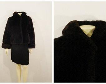 Vintage Coat Mouton Fur Coat Dark Brown Rust Lining Modern Medium to Large