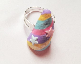 Lush inspired unicorn horn ring pastel valentines rainbow bubble bar polymer clay handmade ooak handcrafted kawaii kitsch