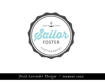 Custom Logo Design Premade Logo and Watermark for Photographers and Small Businesses Badge Circle Frame with Anchor Nautical Vintage