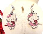 Girls Earrings with Pink Enameled Kitty holding Flower Bouquet , kitty jewelry, Girls Jewelry