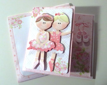 Ballerina birthday greeting card with matching envelope.