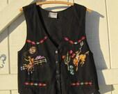 Black cowgirl vest, black vest, black denim vest, Vintage vestm cowgirl vest, 80s western vest S-M
