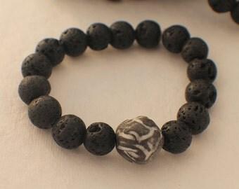 Guys Aromatherapy Bracelet Lava Stone Bracelet - Essential Oil Bracelet - Aromatherapy Bracelet for Him - Essential Oil Diffuser