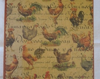 Rooster wooden book