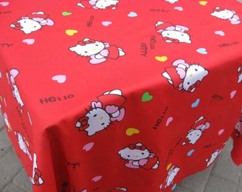 2714 - 1 yard  twill cotton fabric - hello kitty on red backgroud