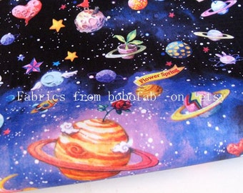 "3275A  - 1 yard Vinyl Waterproof Fabric - Universe and Planet  - 57""x36"""