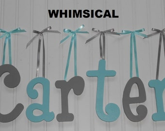 "Wooden Wall Letters - Painted - 6"" Size - Whimsical plus Various other Fonts - Gifts and Decor for Nursery - Home - Playrooms - Dorms"