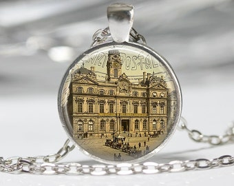 Paris Necklace Necklace Glass Pendant Necklace Paris Jewelry
