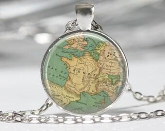 World Map Necklace Map Pendant Glass Jewelry Globe Necklace France Map Necklace