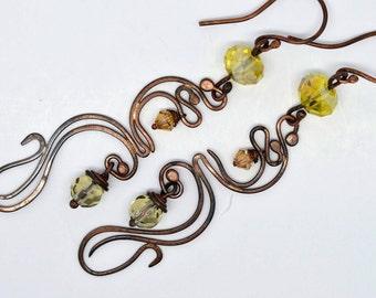 Dangle earrings oxidized copper swirl