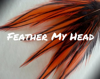 "10 Orange Laced Feathers 3"" to 5"" Long (8cm -13cm), Craft Supplies, Plumes, Rooster Feather"
