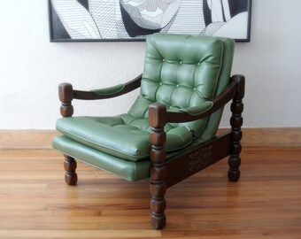 10% Off Sale - Vintage Green Vinyl Tufted Sling Chair - Excellent Condition - Mad Men Era - Mid Century Style