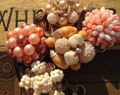 Vintage clip-on earring bracelet, bubble gum pink!