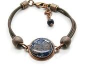 Orgone Energy Bracelet - Leather Friendship Bracelet - Copper & Lapis Lazuli Gemstone - Celebrity Gift - Artisan Jewelry