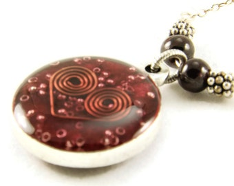 Orgone Energy Small Reversible Pendant in Silver with Garnet Gemstones - Orgone Jewelry - Artisan Jewelry