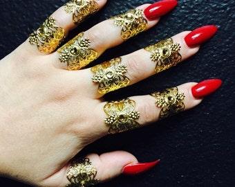 Henna tattoo rings. Set of 9.