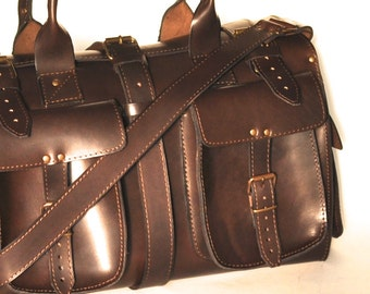 Small leather duffle bag / Travel bag / Weekender / Sac voyage / Women/Men leather dark brown duffle bag