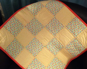 """Polka Dots of Orange, Spring Green and White Abound In This 22.5"""" X 22.5"""" Carseat/Stroller or Doll Quilt"""