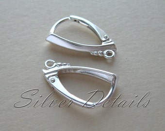 Top Quality Decorative Sterling Silver Lever backs with Loop 925 model ES108