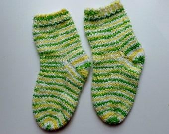 Baby toddler child  socks hand knit yellow green white stripes