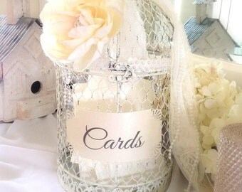 Wedding Birdcage - Gift Cards, Wedding Card Holder, Guest Cards, Birdcage Advice Box, Bridal Shower, Cards Box, Shabby Chic, Farmhouse Decor