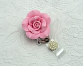 Vintage - Pink - Clay - Rose - Retractable - Badge - Reel - Flower Badge Clips - Rose ID Holders - Designer Badge Reel - Pretty Badge Clips