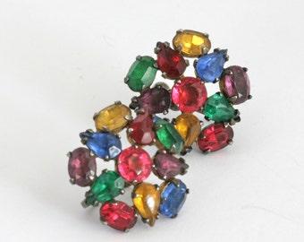Sterling Silver Rhinestone Fruit Salad Screw Back Earrings // Vintage Jewelry