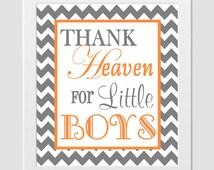 Thank Heaven For Little Boy Christian Art Boy Nursery Playroom Orange Gray Chevron Wall Decor Prayer