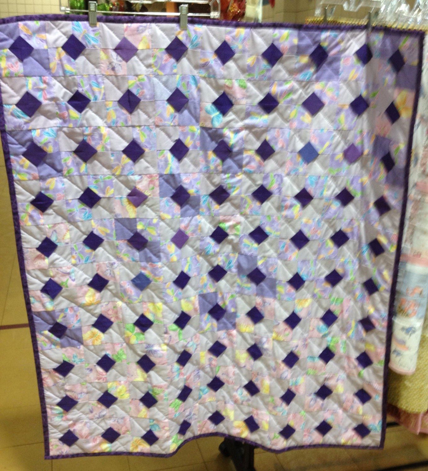 Purple Bow-Tie Pattern Quilt by smalltimeembroidery on Etsy