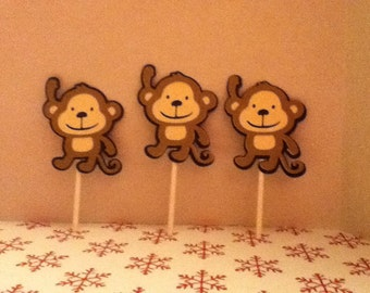 Cute Monkey Cupcake Toppers